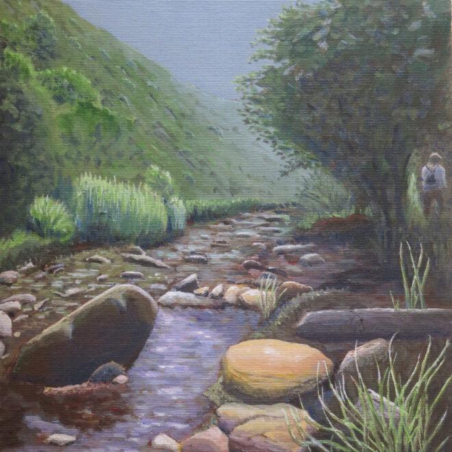 """U.A., """"Touw River"""", 40x30 cm, Acryl auf Karton, 2018"""